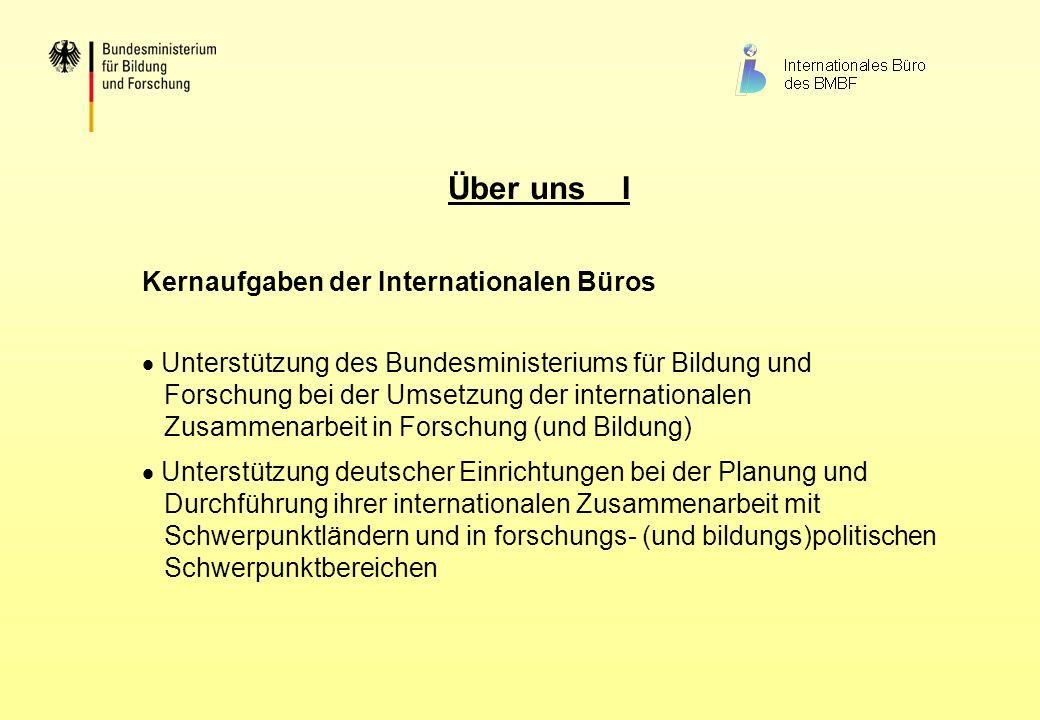 Über uns I Kernaufgaben der Internationalen Büros Unterstützung des Bundesministeriums für Bildung und Forschung bei der Umsetzung der internationalen