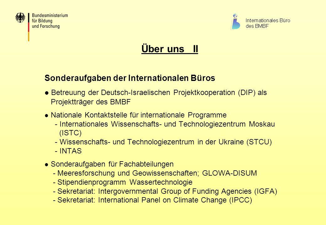 Über uns II Sonderaufgaben der Internationalen Büros Betreuung der Deutsch-Israelischen Projektkooperation (DIP) als Projektträger des BMBF Nationale