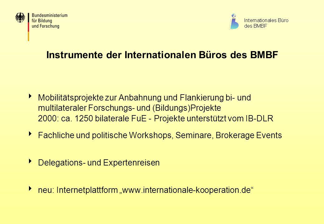Instrumente der Internationalen Büros des BMBF Mobilitätsprojekte zur Anbahnung und Flankierung bi- und multilateraler Forschungs- und (Bildungs)Proje