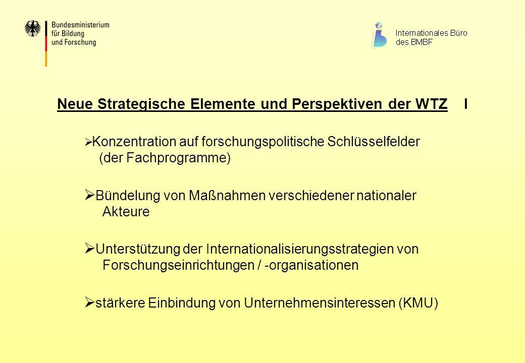 Neue Strategische Elemente und Perspektiven der WTZ II Information als wichtiges Instrument der WTZ Beitrag zur internationalen Vernetzung deutscher Einrichtungen und Unternehmen Stimulierung der Beteiligung an internationalen und Europäischen Programmen (EU-Rahmenprogramm, EUREKA, COST, INTAS, ISTC, STCU...)