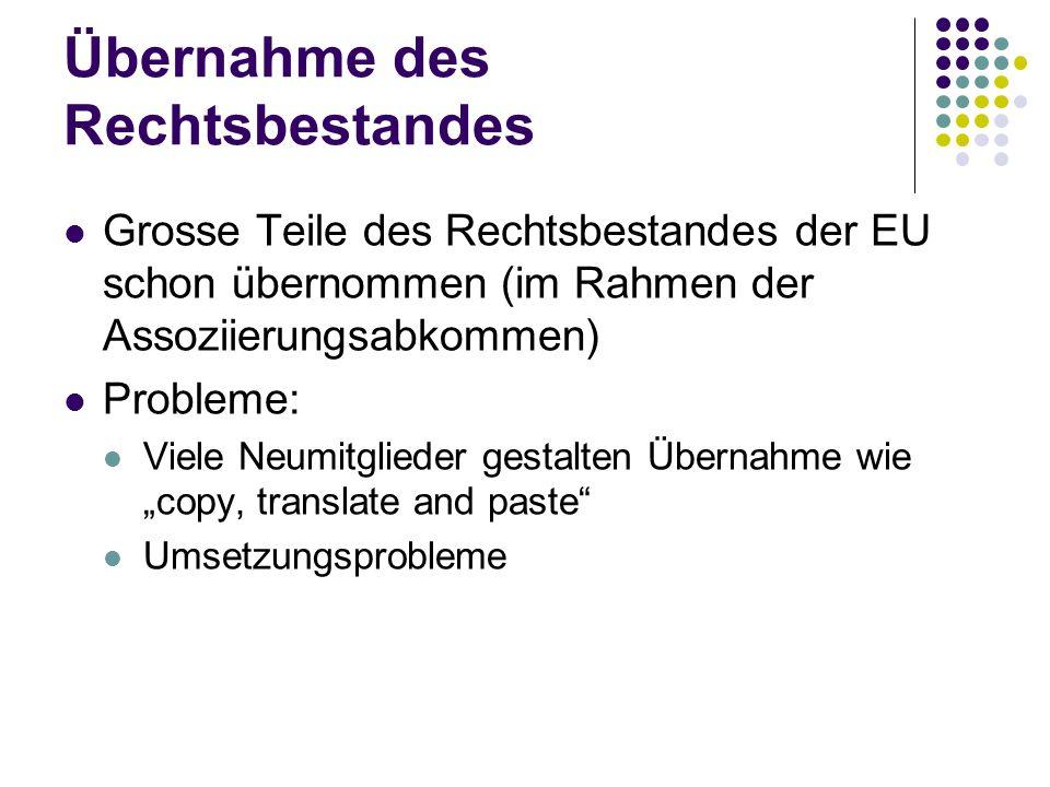 Übernahme des Rechtsbestandes Grosse Teile des Rechtsbestandes der EU schon übernommen (im Rahmen der Assoziierungsabkommen) Probleme: Viele Neumitgli