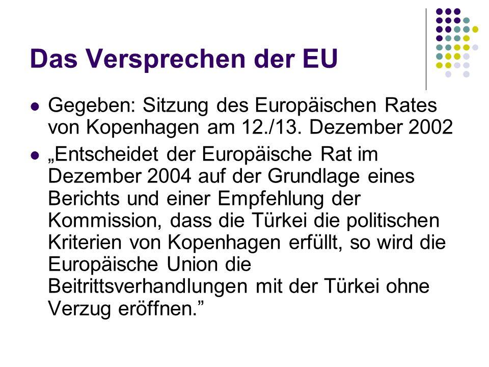 Das Versprechen der EU Gegeben: Sitzung des Europäischen Rates von Kopenhagen am 12./13. Dezember 2002 Entscheidet der Europäische Rat im Dezember 200