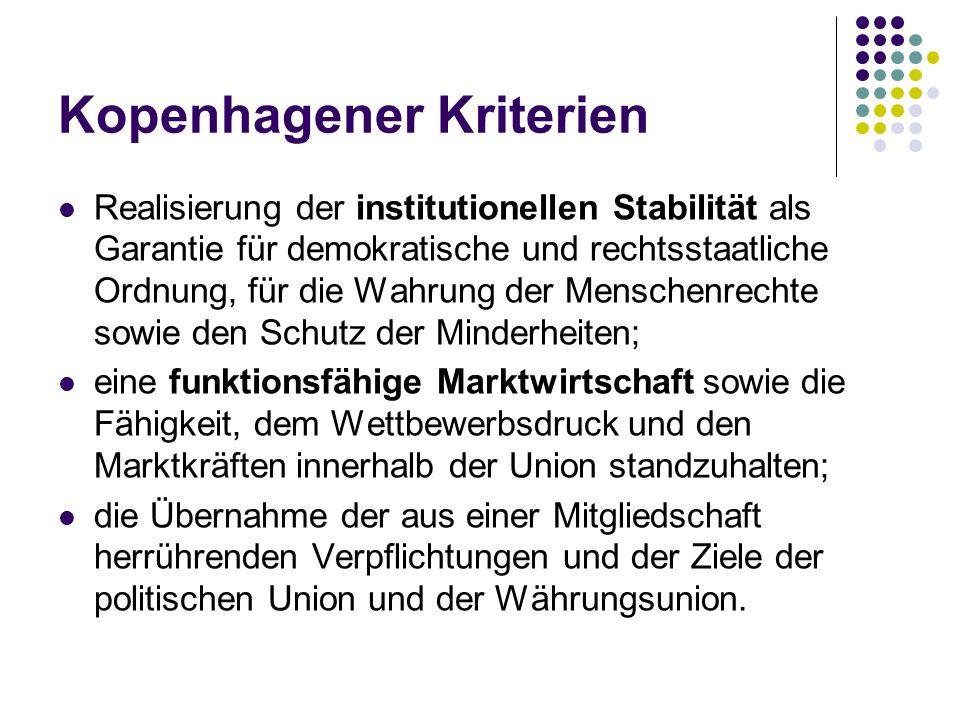 Kopenhagener Kriterien Realisierung der institutionellen Stabilität als Garantie für demokratische und rechtsstaatliche Ordnung, für die Wahrung der M