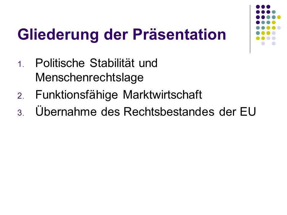 Gliederung der Präsentation 1. Politische Stabilität und Menschenrechtslage 2. Funktionsfähige Marktwirtschaft 3. Übernahme des Rechtsbestandes der EU