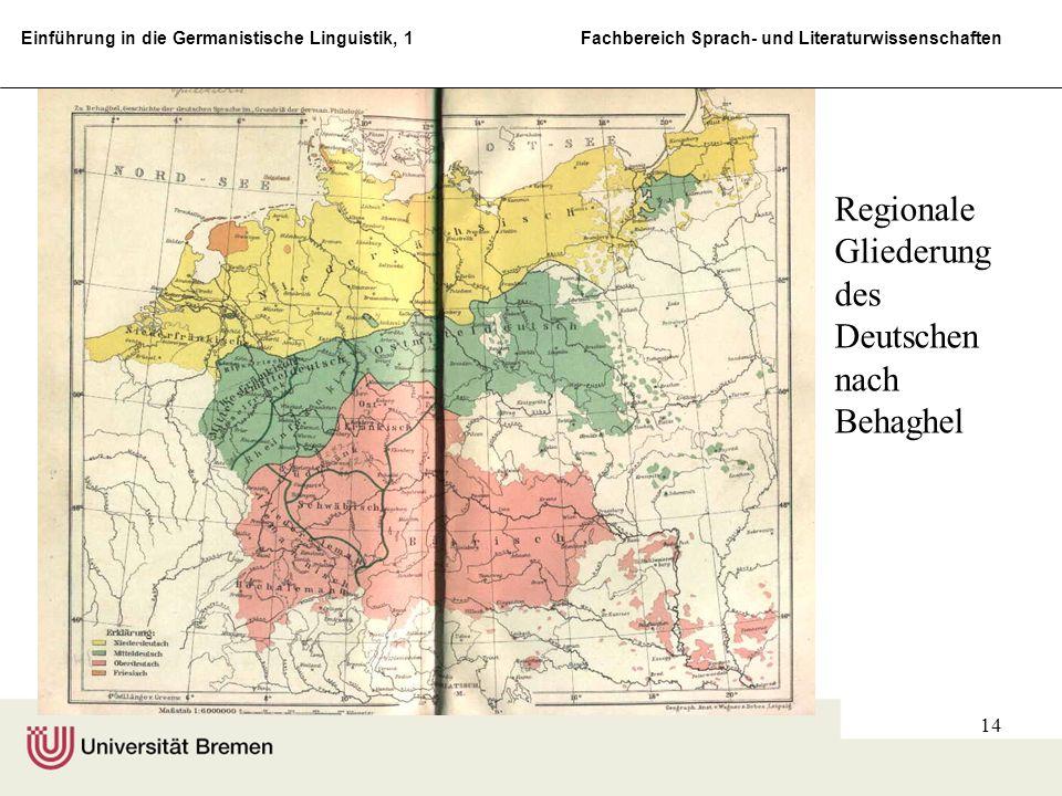Einführung in die Germanistische Linguistik, 1 Fachbereich Sprach- und Literaturwissenschaften 14 Regionale Gliederung des Deutschen nach Behaghel