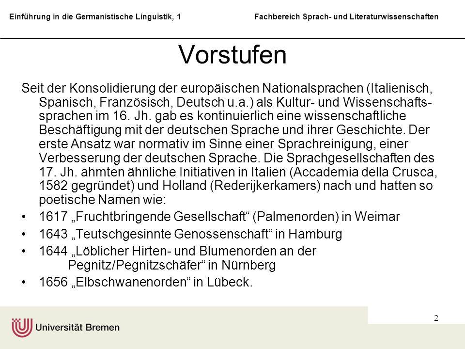 Einführung in die Germanistische Linguistik, 1 Fachbereich Sprach- und Literaturwissenschaften 2 Vorstufen Seit der Konsolidierung der europäischen Na