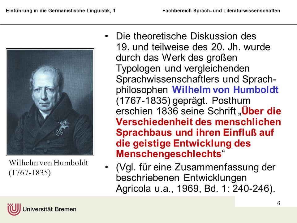 Einführung in die Germanistische Linguistik, 1 Fachbereich Sprach- und Literaturwissenschaften 6 Die theoretische Diskussion des 19. und teilweise des