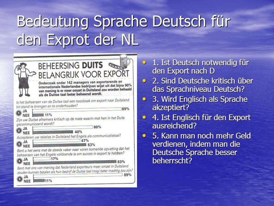 Bedeutung Sprache Deutsch für den Exprot der NL 1. Ist Deutsch notwendig für den Export nach D 1. Ist Deutsch notwendig für den Export nach D 2. Sind
