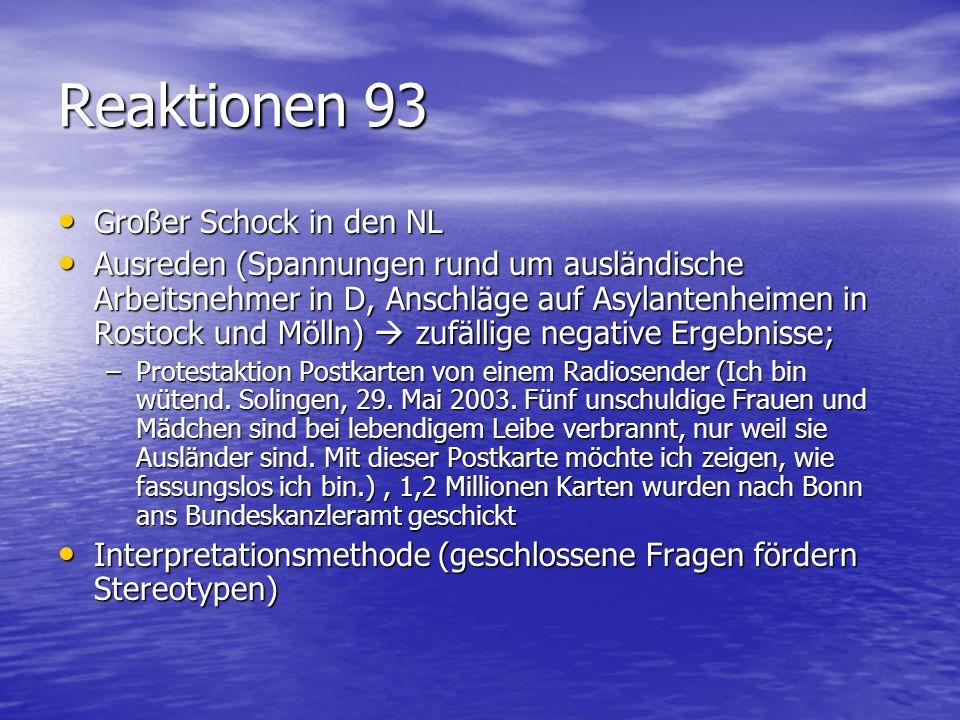 Reaktionen 93 Großer Schock in den NL Großer Schock in den NL Ausreden (Spannungen rund um ausländische Arbeitsnehmer in D, Anschläge auf Asylantenhei