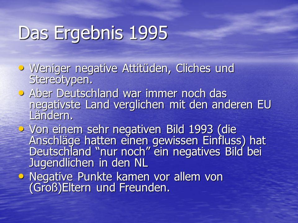 Das Ergebnis 1995 Weniger negative Attitüden, Cliches und Stereotypen. Weniger negative Attitüden, Cliches und Stereotypen. Aber Deutschland war immer