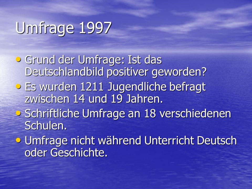 Umfrage 1997 Grund der Umfrage: Ist das Deutschlandbild positiver geworden? Grund der Umfrage: Ist das Deutschlandbild positiver geworden? Es wurden 1