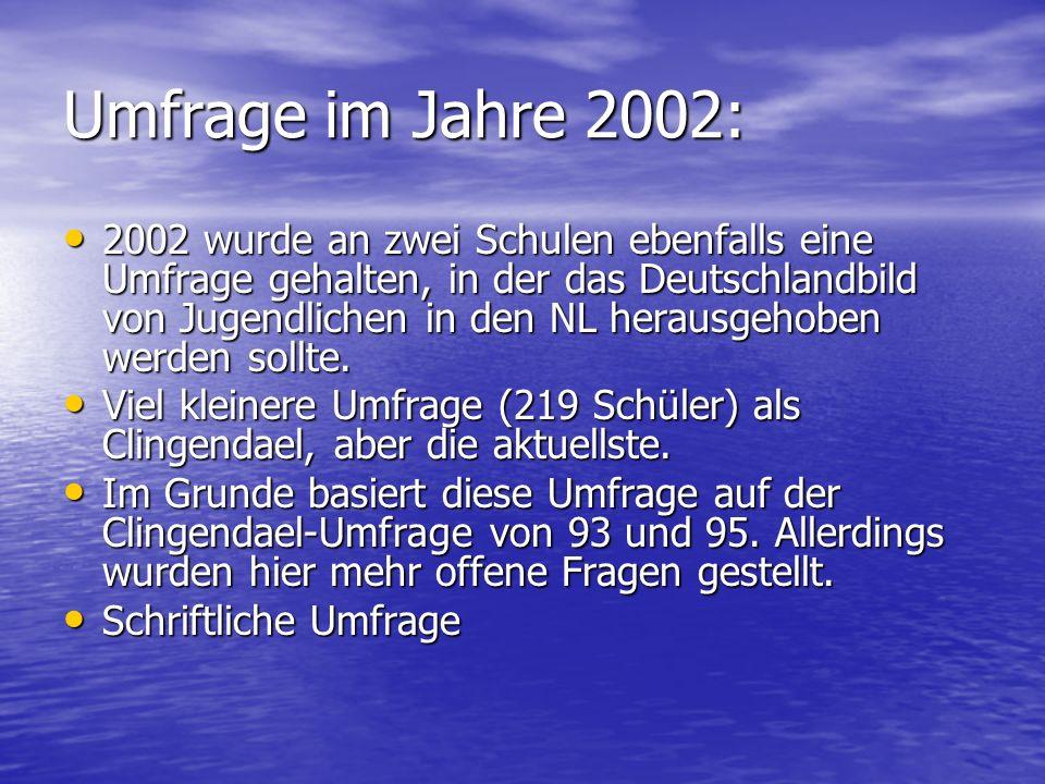 Umfrage im Jahre 2002: 2002 wurde an zwei Schulen ebenfalls eine Umfrage gehalten, in der das Deutschlandbild von Jugendlichen in den NL herausgehoben