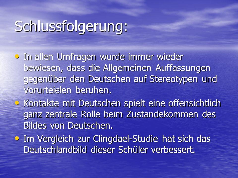 Schlussfolgerung: In allen Umfragen wurde immer wieder bewiesen, dass die Allgemeinen Auffassungen gegenüber den Deutschen auf Stereotypen und Vorurte