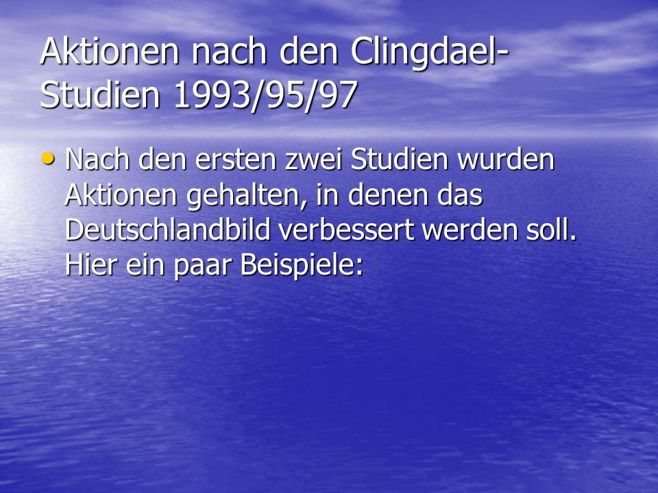 Aktionen nach den Clingdael- Studien 1993/95/97 Nach den ersten zwei Studien wurden Aktionen gehalten, in denen das Deutschlandbild verbessert werden