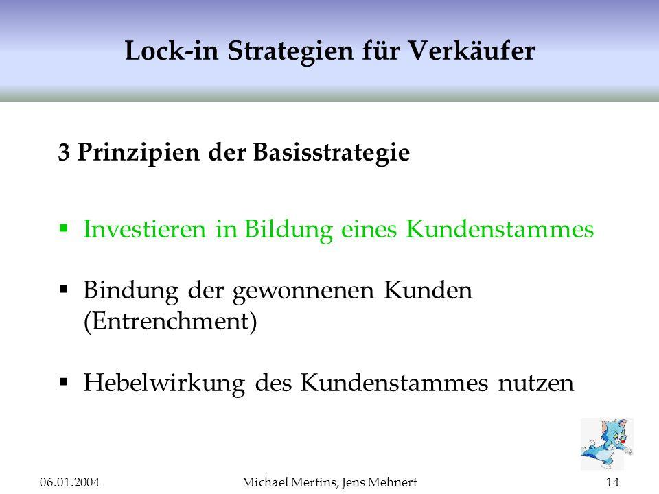 06.01.2004Michael Mertins, Jens Mehnert14 Lock-in Strategien für Verkäufer 3 Prinzipien der Basisstrategie Investieren in Bildung eines Kundenstammes