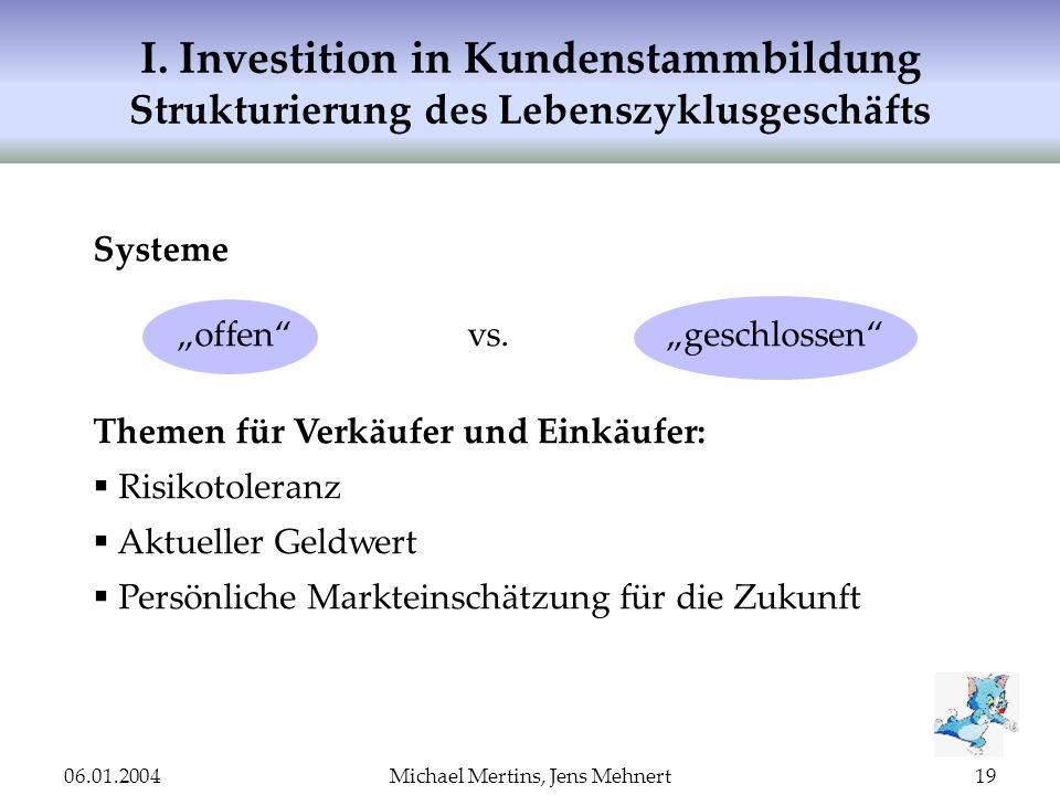 06.01.2004Michael Mertins, Jens Mehnert19 I. Investition in Kundenstammbildung Strukturierung des Lebenszyklusgeschäfts Systeme offenvs.geschlossen Th