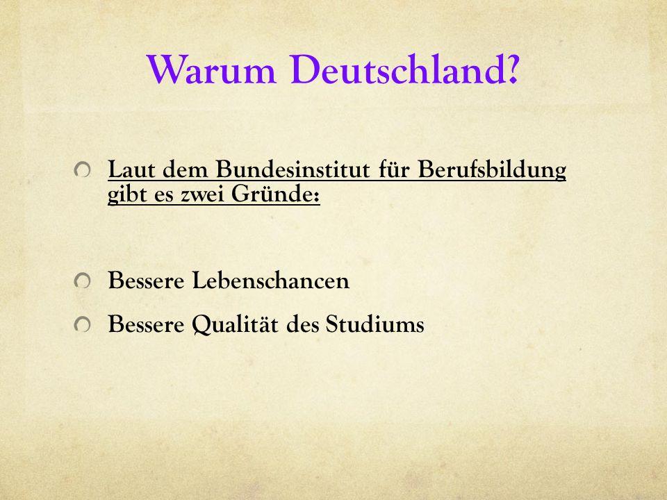Warum Deutschland? Laut dem Bundesinstitut für Berufsbildung gibt es zwei Gründe: Bessere Lebenschancen Bessere Qualität des Studiums