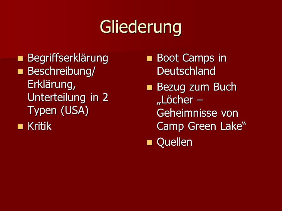 Gliederung Begriffserklärung Begriffserklärung Beschreibung/ Beschreibung/ Erklärung, Unterteilung in 2 Typen (USA) Kritik Kritik Boot Camps in Deutsc