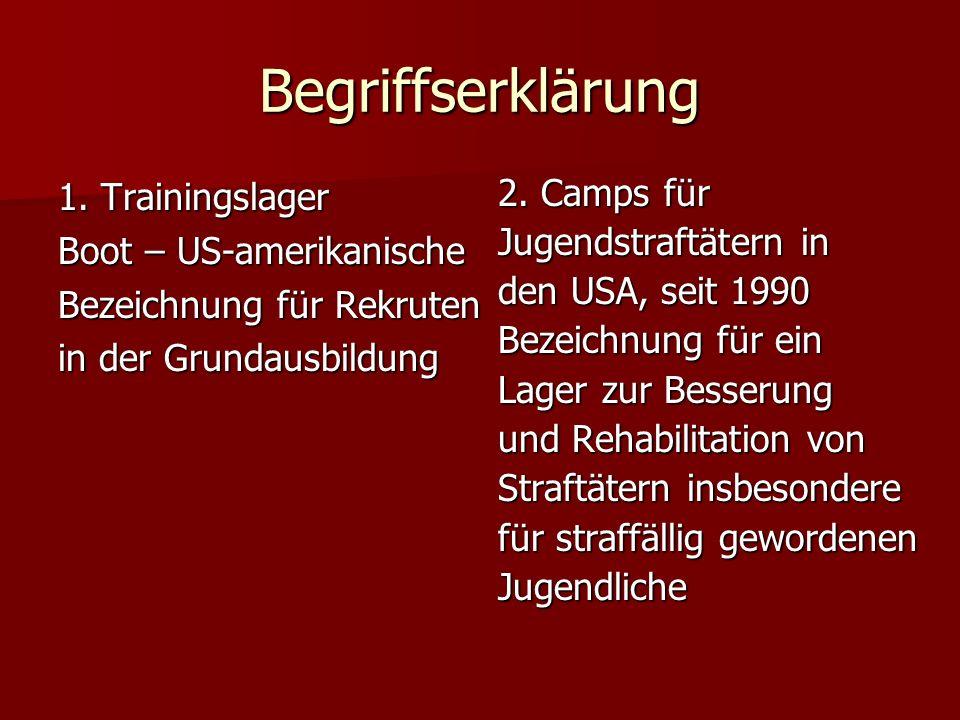 Begriffserklärung 1. Trainingslager Boot – US-amerikanische Bezeichnung für Rekruten in der Grundausbildung 2. Camps für Jugendstraftätern in den USA,
