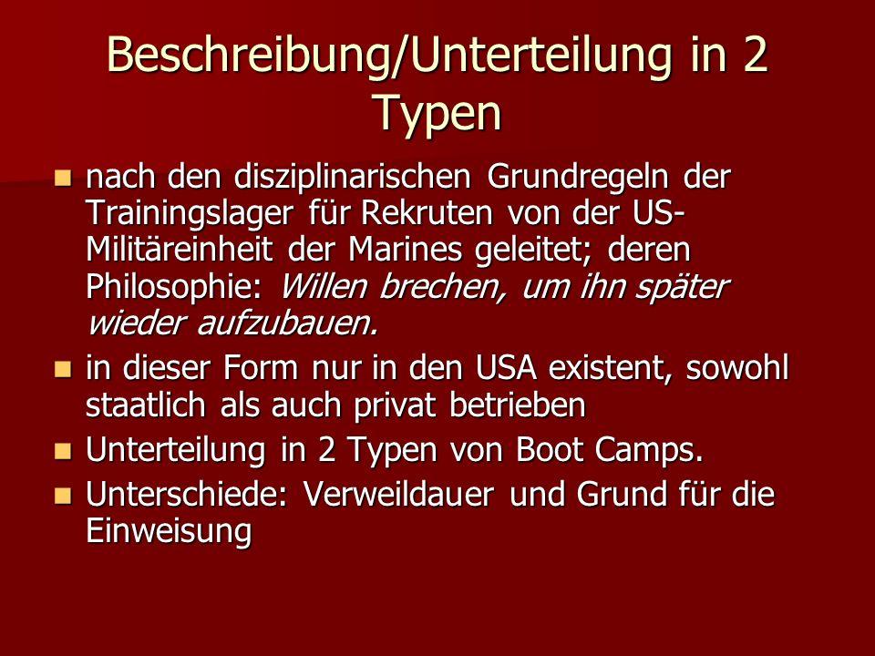 Beschreibung/Unterteilung in 2 Typen nach den disziplinarischen Grundregeln der Trainingslager für Rekruten von der US- Militäreinheit der Marines gel