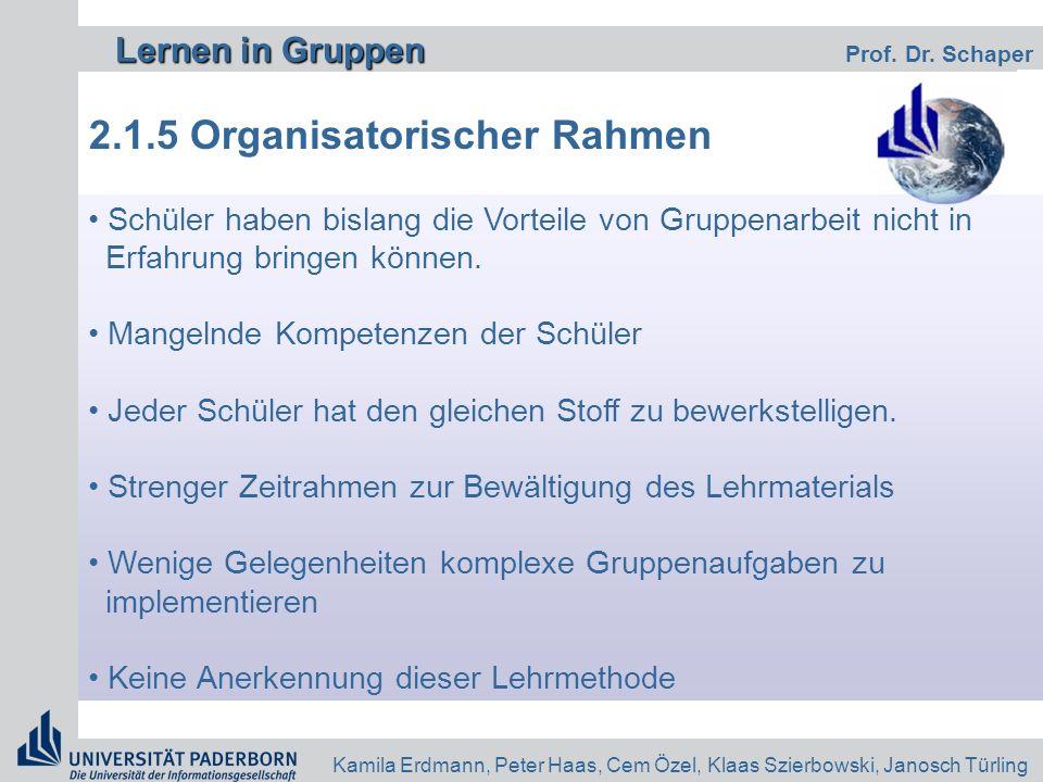 Lernen in Gruppen Lernen in Gruppen Prof. Dr. Schaper Kamila Erdmann, Peter Haas, Cem Özel, Klaas Szierbowski, Janosch Türling 2.1.5 Organisatorischer