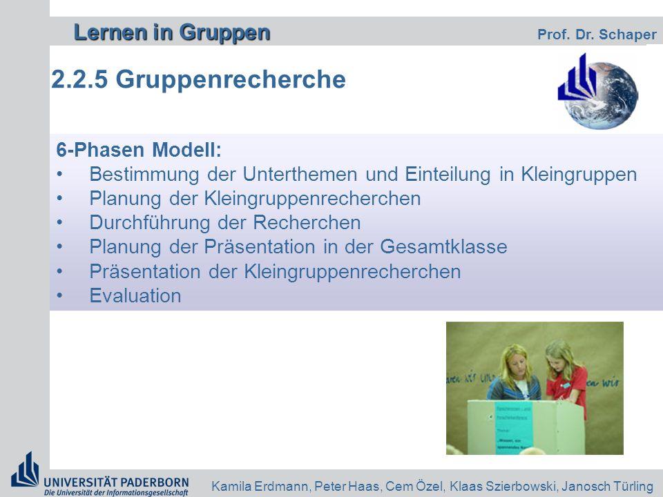 Lernen in Gruppen Lernen in Gruppen Prof. Dr. Schaper Kamila Erdmann, Peter Haas, Cem Özel, Klaas Szierbowski, Janosch Türling 2.2.5 Gruppenrecherche