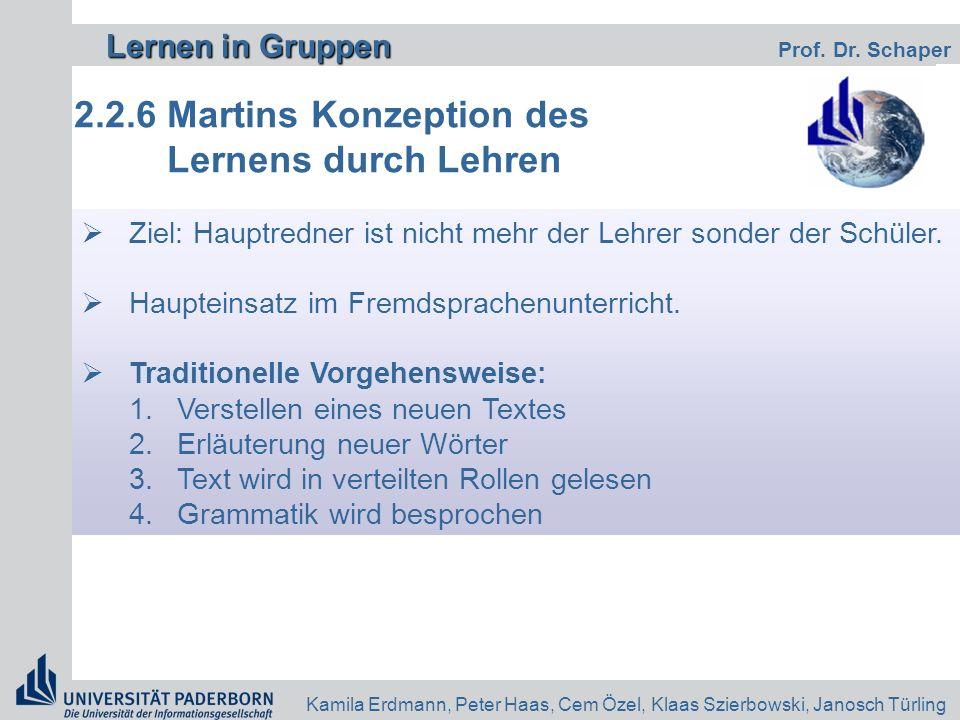 Lernen in Gruppen Lernen in Gruppen Prof. Dr. Schaper Kamila Erdmann, Peter Haas, Cem Özel, Klaas Szierbowski, Janosch Türling 2.2.6 Martins Konzeptio