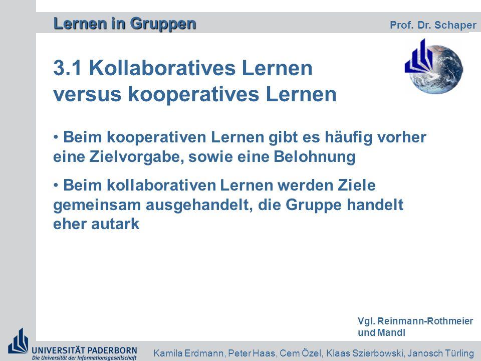 Lernen in Gruppen Lernen in Gruppen Prof. Dr. Schaper Kamila Erdmann, Peter Haas, Cem Özel, Klaas Szierbowski, Janosch Türling 3.1 Kollaboratives Lern