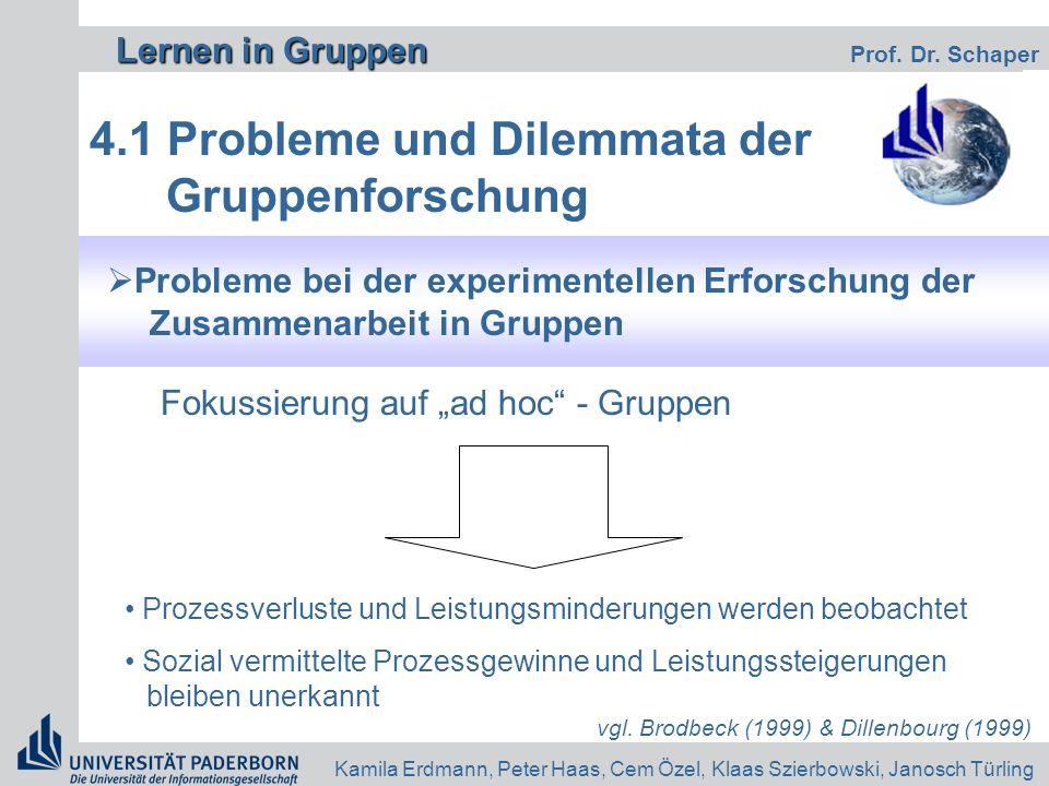 Lernen in Gruppen Lernen in Gruppen Prof. Dr. Schaper Kamila Erdmann, Peter Haas, Cem Özel, Klaas Szierbowski, Janosch Türling 4.1 Probleme und Dilemm