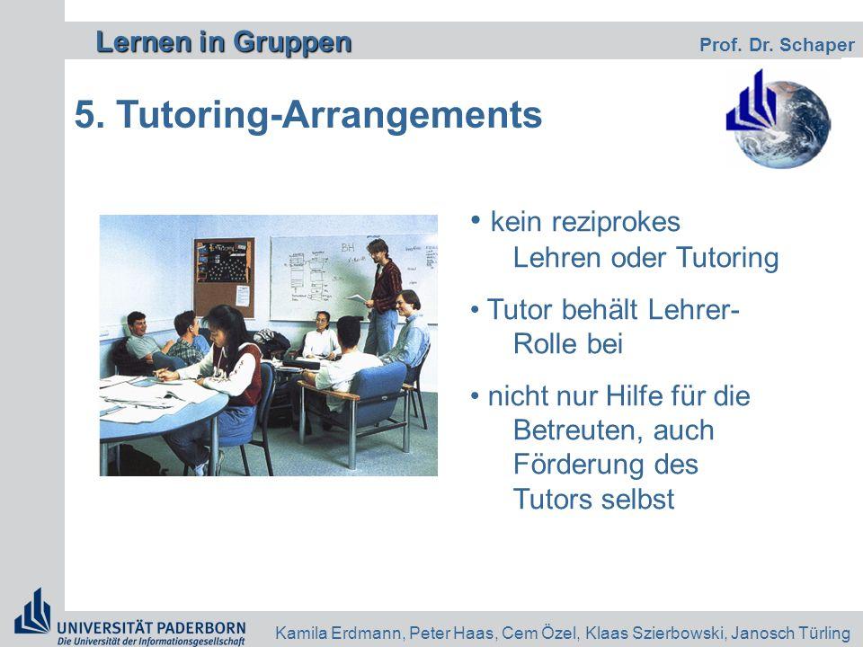 Lernen in Gruppen Lernen in Gruppen Prof. Dr. Schaper Kamila Erdmann, Peter Haas, Cem Özel, Klaas Szierbowski, Janosch Türling 5. Tutoring-Arrangement
