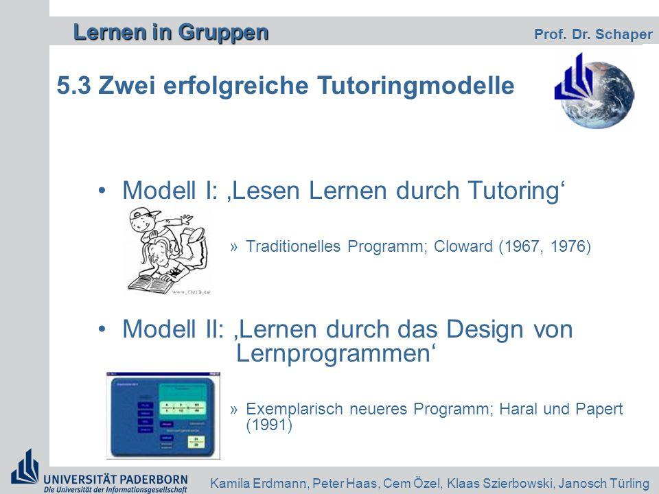 Lernen in Gruppen Lernen in Gruppen Prof. Dr. Schaper Kamila Erdmann, Peter Haas, Cem Özel, Klaas Szierbowski, Janosch Türling 5.3 Zwei erfolgreiche T