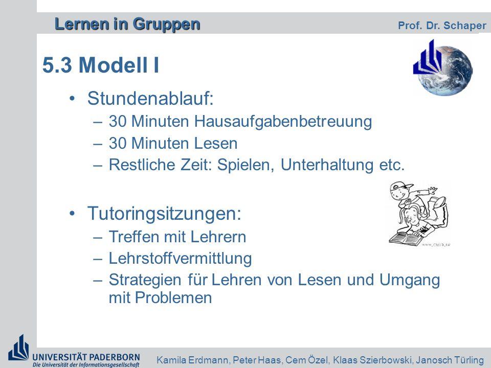 Lernen in Gruppen Lernen in Gruppen Prof. Dr. Schaper Kamila Erdmann, Peter Haas, Cem Özel, Klaas Szierbowski, Janosch Türling 5.3 Modell I Stundenabl