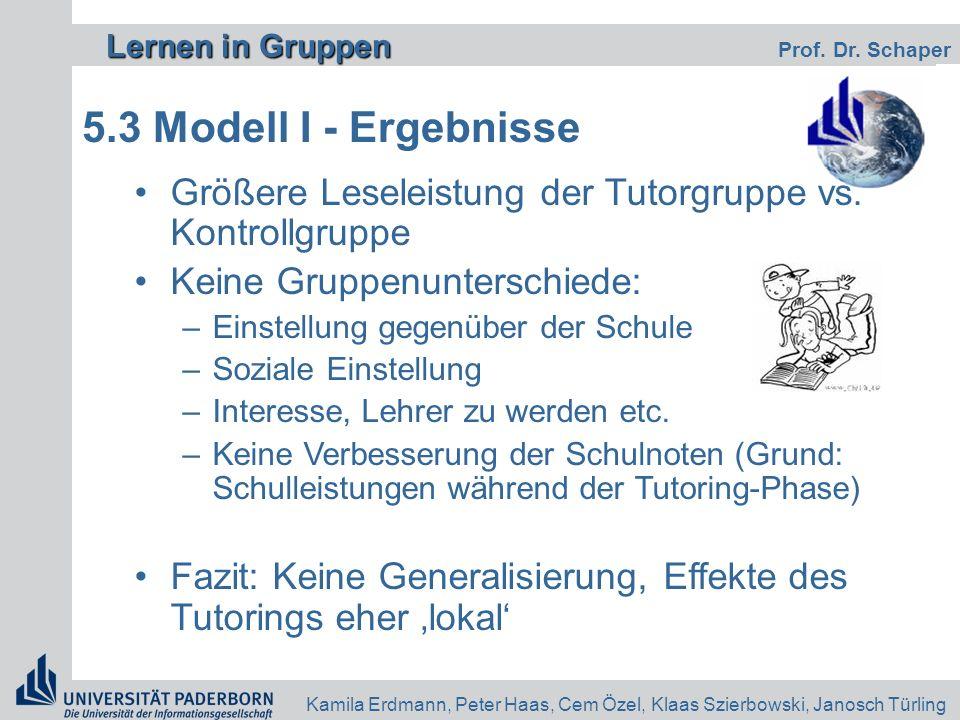 Lernen in Gruppen Lernen in Gruppen Prof. Dr. Schaper Kamila Erdmann, Peter Haas, Cem Özel, Klaas Szierbowski, Janosch Türling 5.3 Modell I - Ergebnis