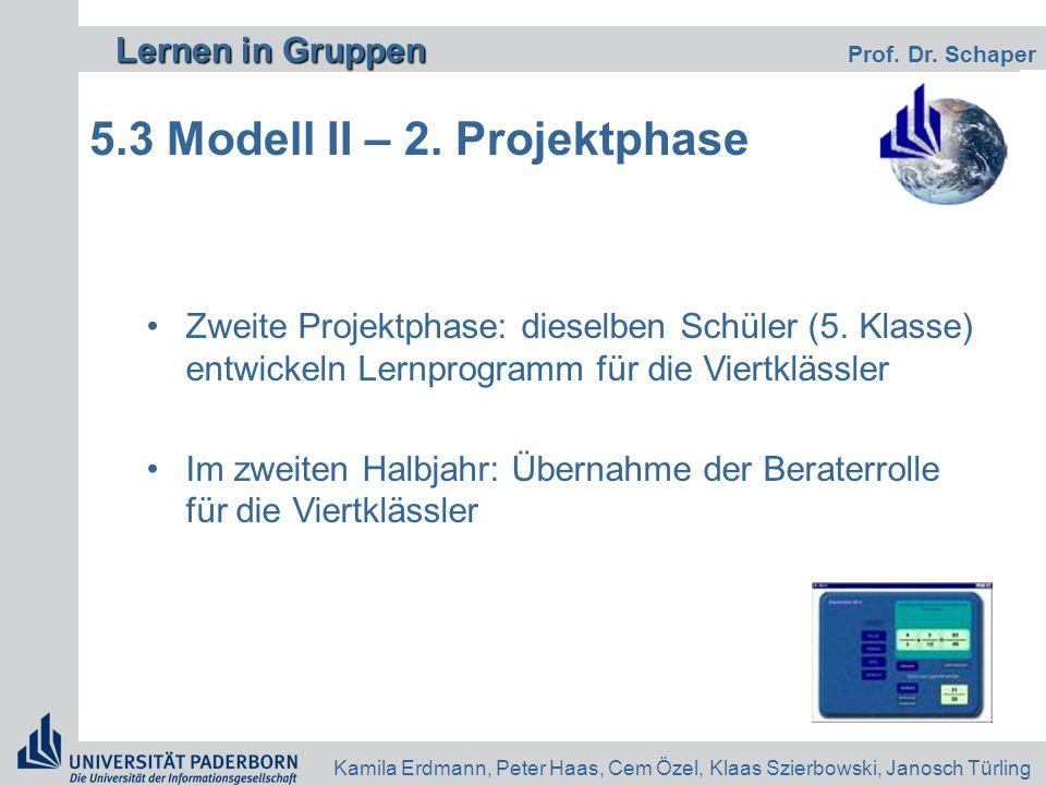 Lernen in Gruppen Lernen in Gruppen Prof. Dr. Schaper Kamila Erdmann, Peter Haas, Cem Özel, Klaas Szierbowski, Janosch Türling 5.3 Modell II – 2. Proj