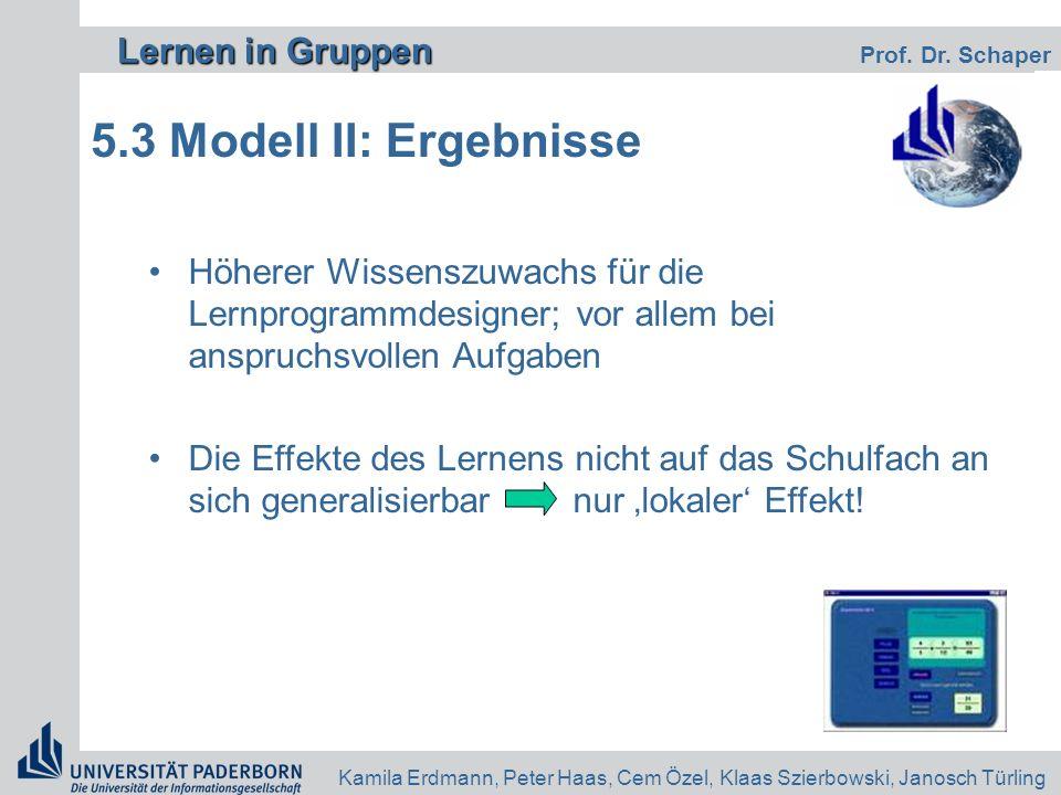 Lernen in Gruppen Lernen in Gruppen Prof. Dr. Schaper Kamila Erdmann, Peter Haas, Cem Özel, Klaas Szierbowski, Janosch Türling 5.3 Modell II: Ergebnis