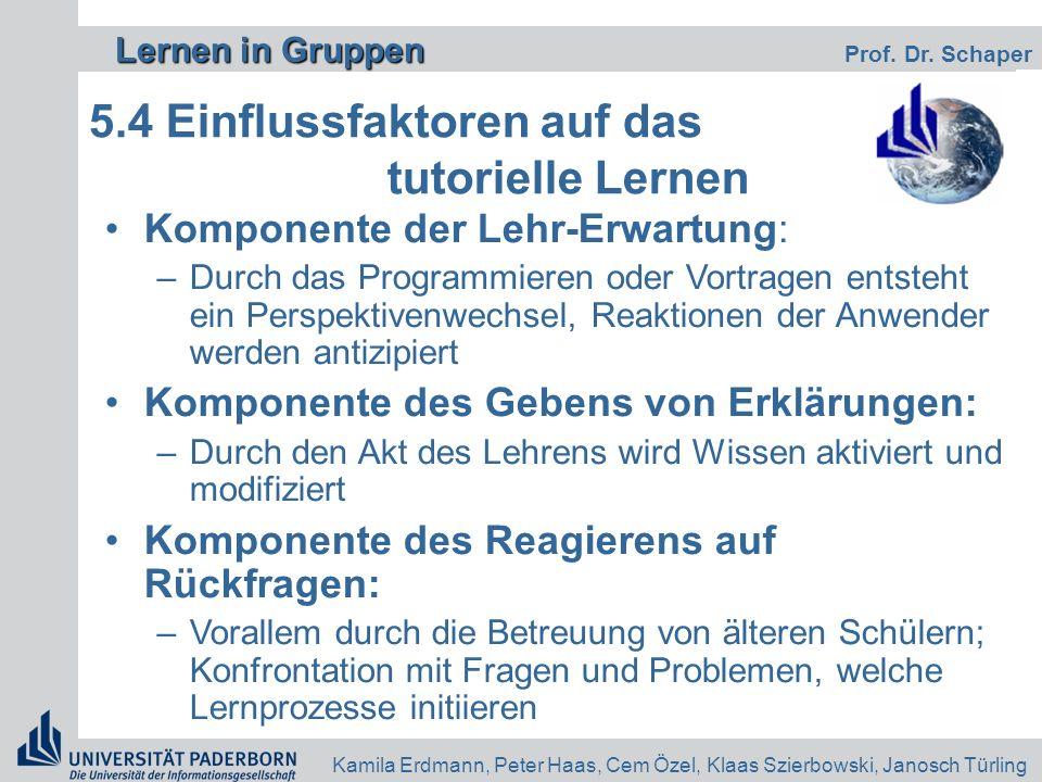 Lernen in Gruppen Lernen in Gruppen Prof. Dr. Schaper Kamila Erdmann, Peter Haas, Cem Özel, Klaas Szierbowski, Janosch Türling 5.4 Einflussfaktoren au