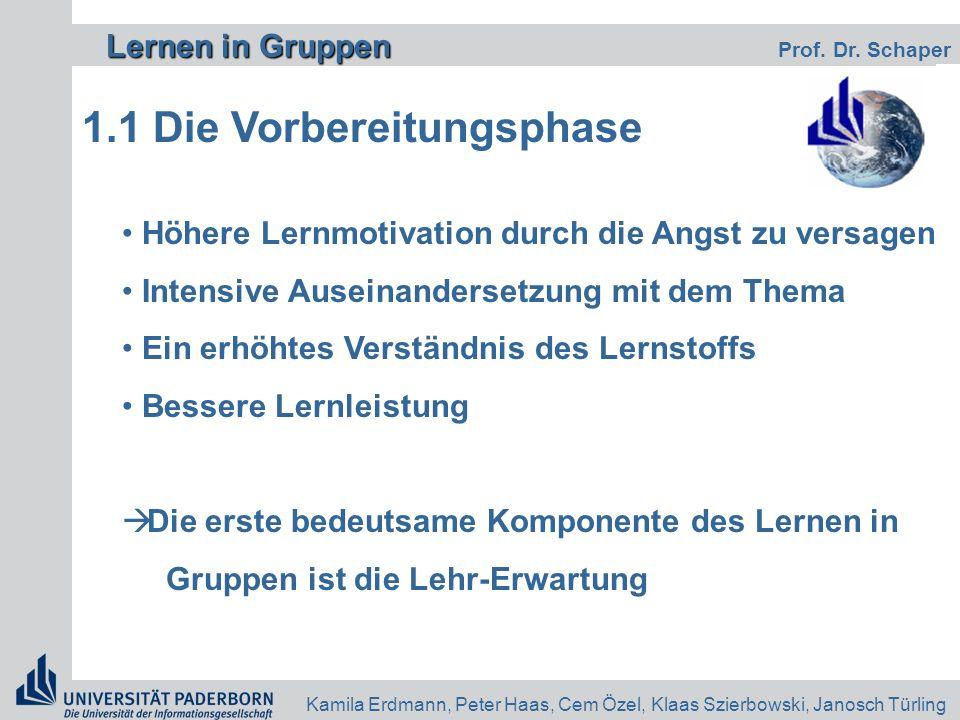 Lernen in Gruppen Lernen in Gruppen Prof. Dr. Schaper Kamila Erdmann, Peter Haas, Cem Özel, Klaas Szierbowski, Janosch Türling 1.1 Die Vorbereitungsph