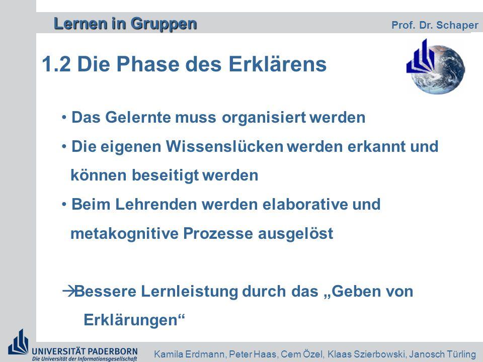 Lernen in Gruppen Lernen in Gruppen Prof. Dr. Schaper Kamila Erdmann, Peter Haas, Cem Özel, Klaas Szierbowski, Janosch Türling 1.2 Die Phase des Erklä
