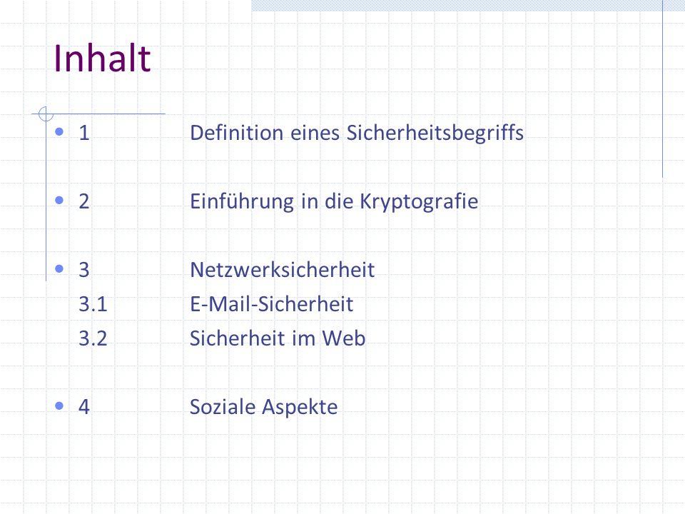 Inhalt 1Definition eines Sicherheitsbegriffs 2Einführung in die Kryptografie 3Netzwerksicherheit 3.1E-Mail-Sicherheit 3.2Sicherheit im Web 4Soziale As