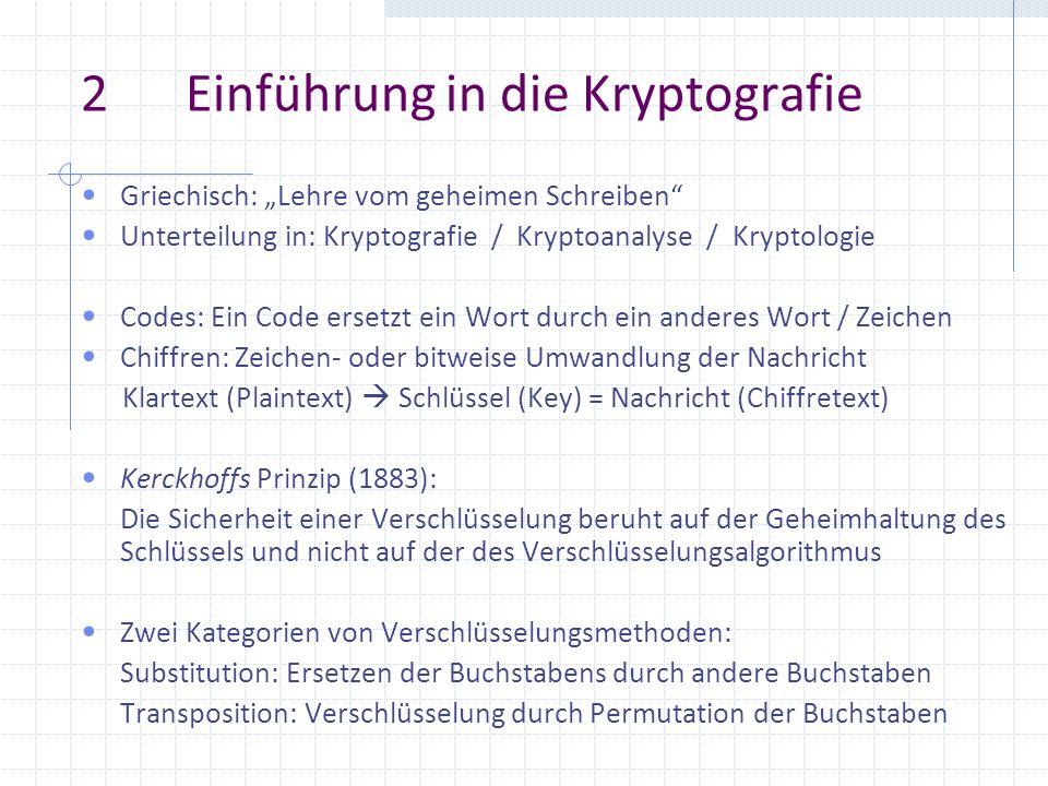 2Einführung in die Kryptografie Griechisch: Lehre vom geheimen Schreiben Unterteilung in: Kryptografie / Kryptoanalyse / Kryptologie Codes: Ein Code e