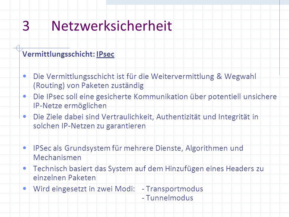 3 Netzwerksicherheit Vermittlungsschicht: IPsec Die Vermittlungsschicht ist für die Weitervermittlung & Wegwahl (Routing) von Paketen zuständig Die IP