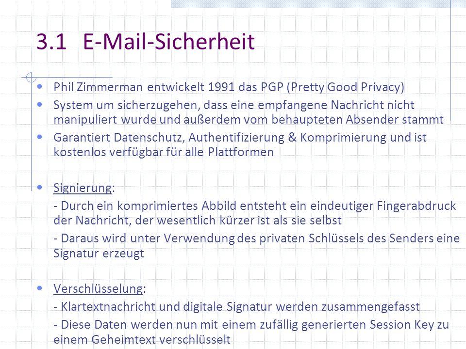 3.1 E-Mail-Sicherheit Phil Zimmerman entwickelt 1991 das PGP (Pretty Good Privacy) System um sicherzugehen, dass eine empfangene Nachricht nicht manip