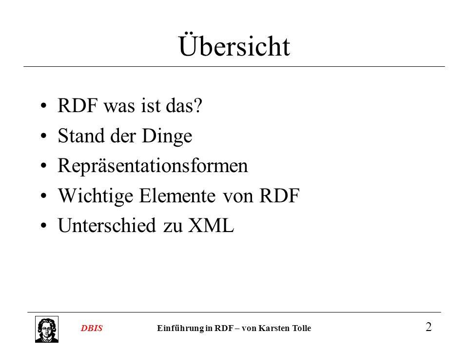Einführung in RDF – von Karsten TolleDBIS 2 Übersicht RDF was ist das? Stand der Dinge Repräsentationsformen Wichtige Elemente von RDF Unterschied zu