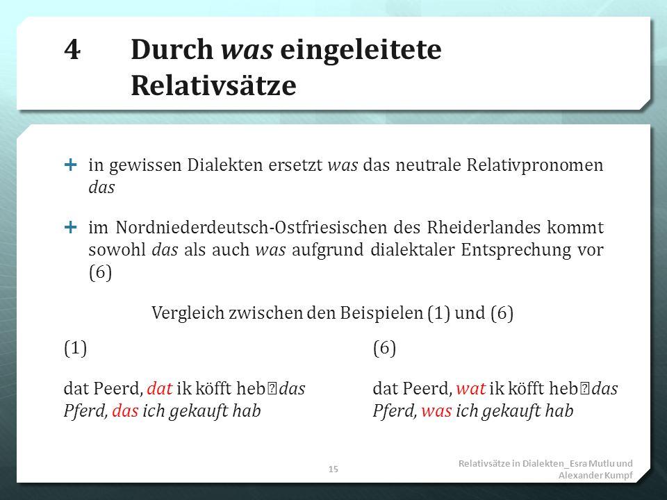 4Durch was eingeleitete Relativsätze in gewissen Dialekten ersetzt was das neutrale Relativpronomen das im Nordniederdeutsch-Ostfriesischen des Rheide