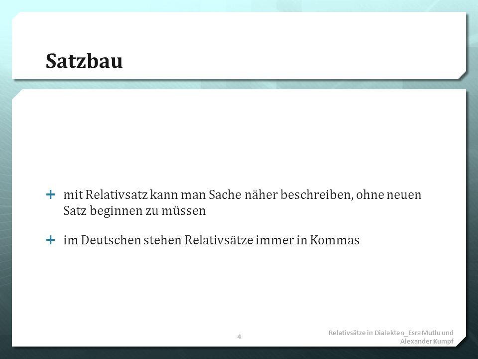 Satzbau mit Relativsatz kann man Sache näher beschreiben, ohne neuen Satz beginnen zu müssen im Deutschen stehen Relativsätze immer in Kommas Relativs