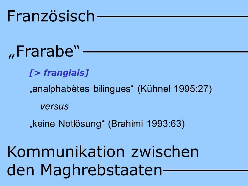Französisch Frarabe [> franglais] analphabètes bilingues (Kühnel 1995:27) versus keine Notlösung (Brahimi 1993:63) Kommunikation zwischen den Maghrebs