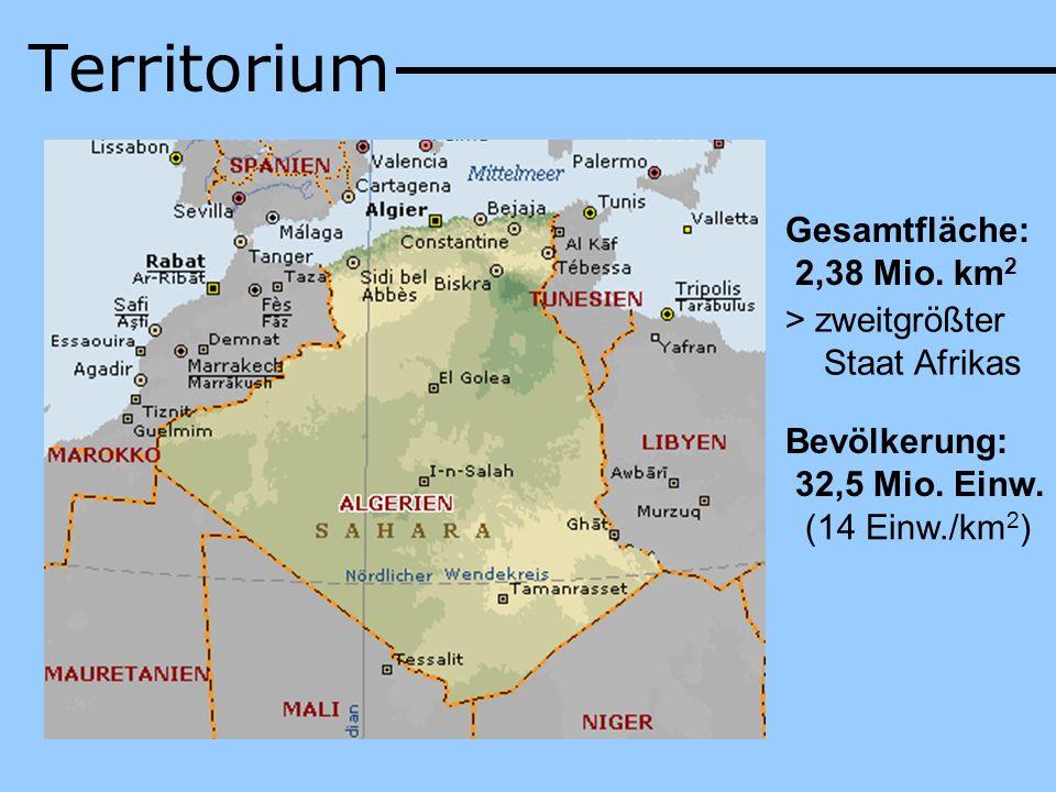 Territorium Gesamtfläche: 2,38 Mio. km 2 > zweitgrößter Staat Afrikas Bevölkerung: 32,5 Mio. Einw. (14 Einw./km 2 )
