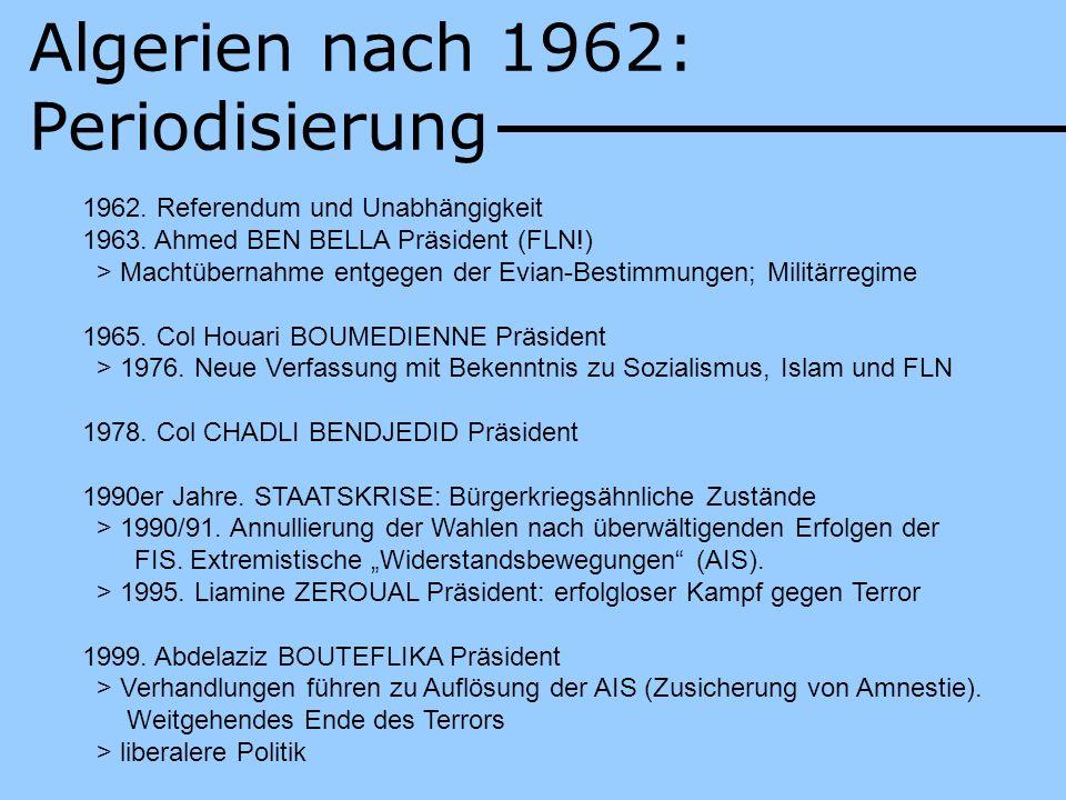 Algerien nach 1962: Periodisierung 1962. Referendum und Unabhängigkeit 1963. Ahmed BEN BELLA Präsident (FLN!) > Machtübernahme entgegen der Evian-Best