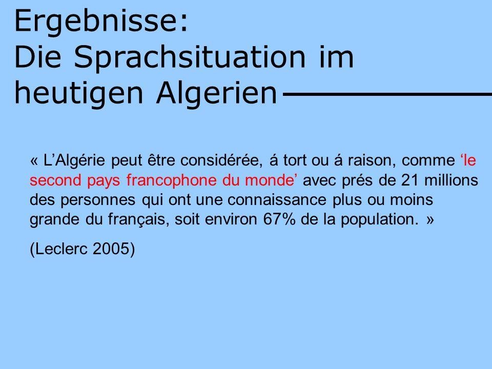 Ergebnisse: Die Sprachsituation im heutigen Algerien « LAlgérie peut être considérée, á tort ou á raison, comme le second pays francophone du monde av