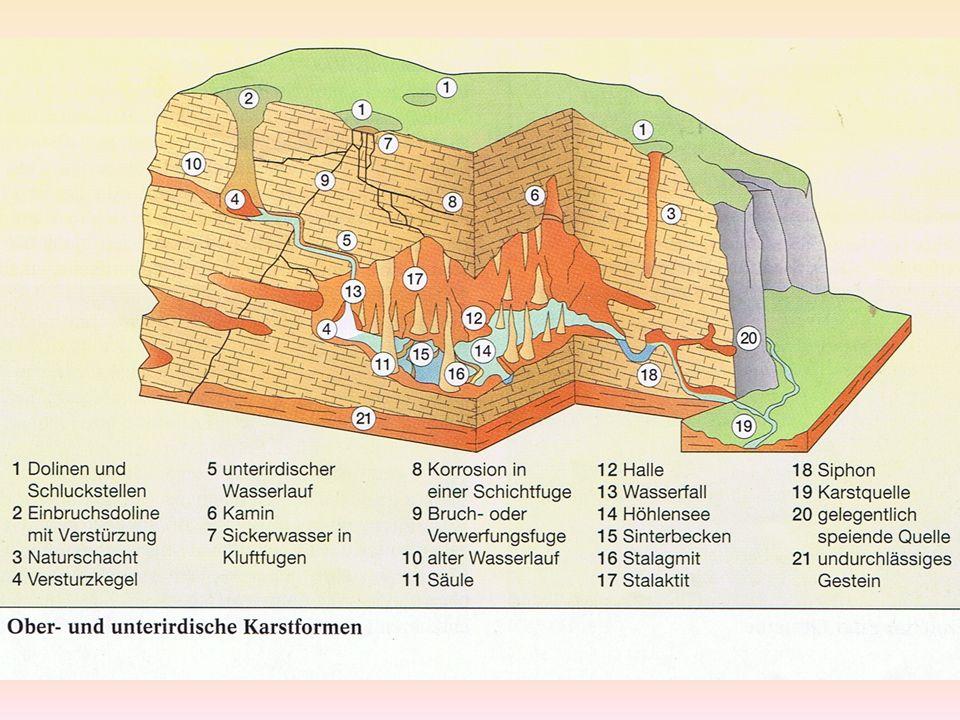 FORMENSCHATZ Karstformen nackter Karst: Kalkgestein an der Erdoberfläche bedeckter Karst: Kalkgestein von Boden & Vegetation bedeckt unterirdischer Karst: Kalkgestein von größerer Deckschicht unlöslicher Gesteine bedeckt